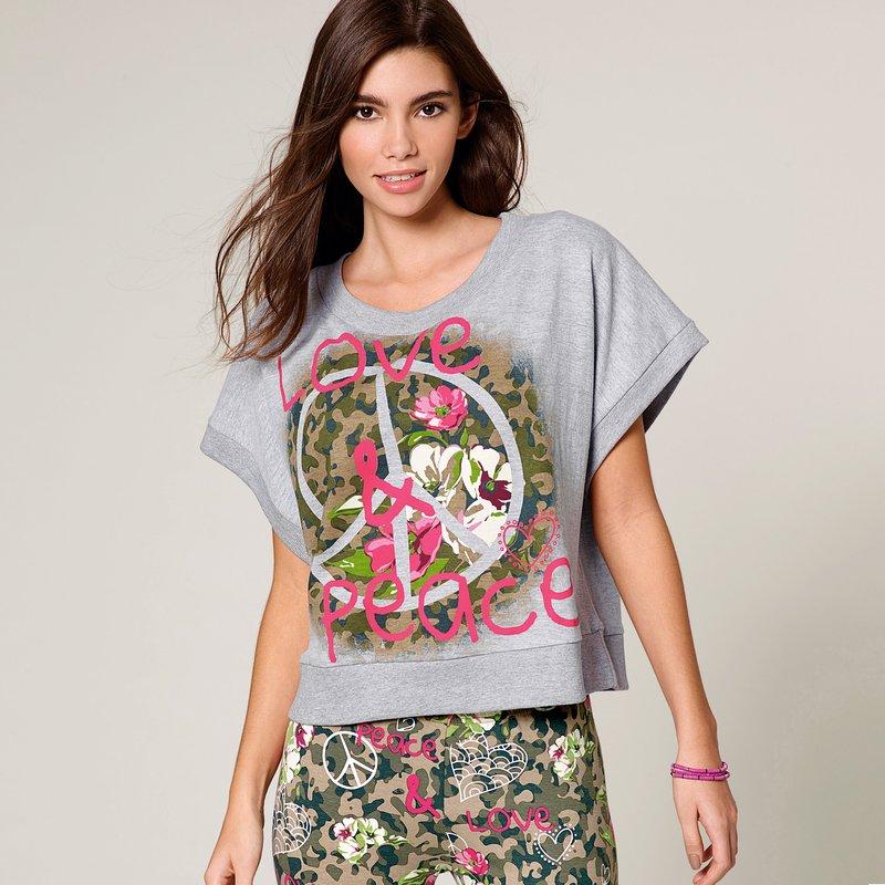 Sudadera de mujer con manga corta felpa camuflaje - Gris