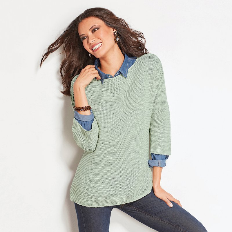 Jersey corte cuadrado mujer con manga 3/4 tricot