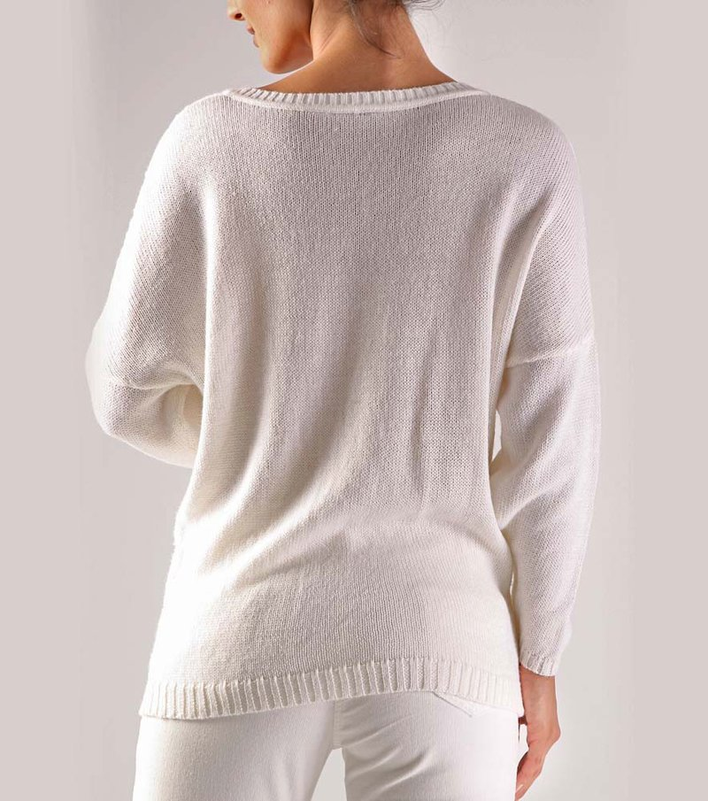 Jersey mujer manga larga grueso punto tricot - Beige
