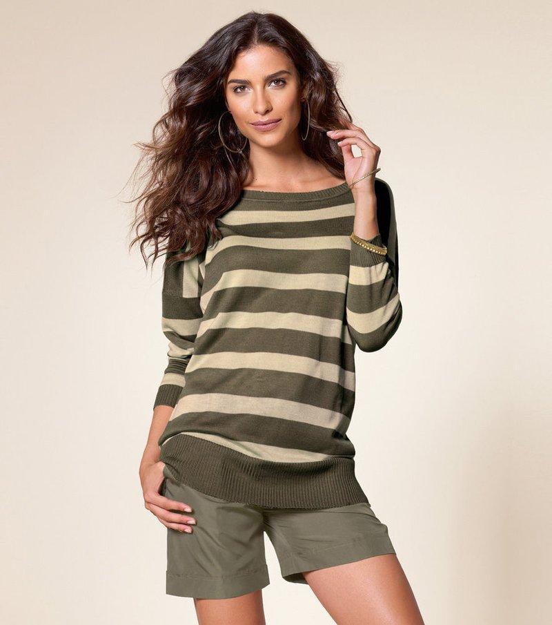 Jersey largo mujer rayas punto tricot