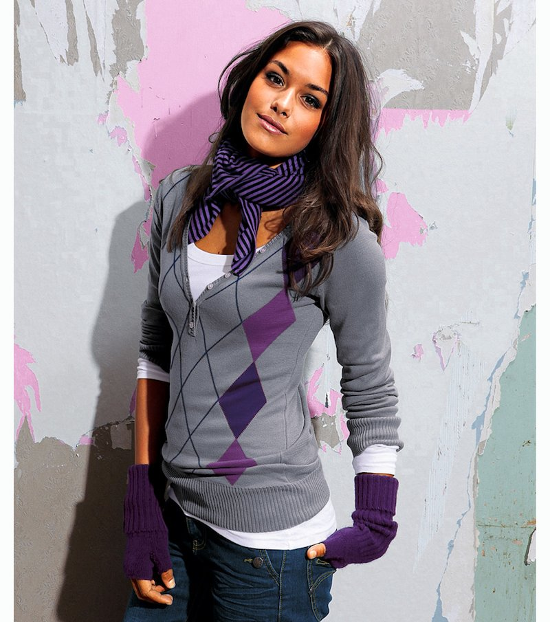 Jersey mujer manga larga de rombos punto tricot