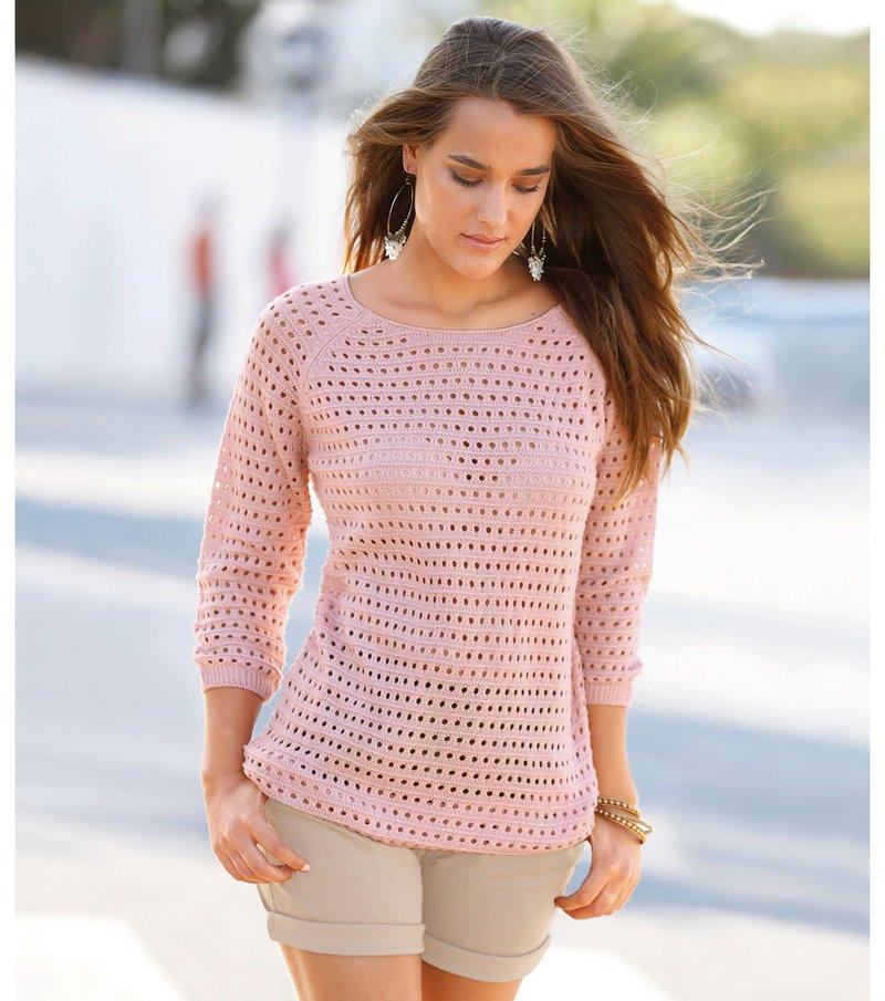 Jersey mujer manga 3/4 tricot calado