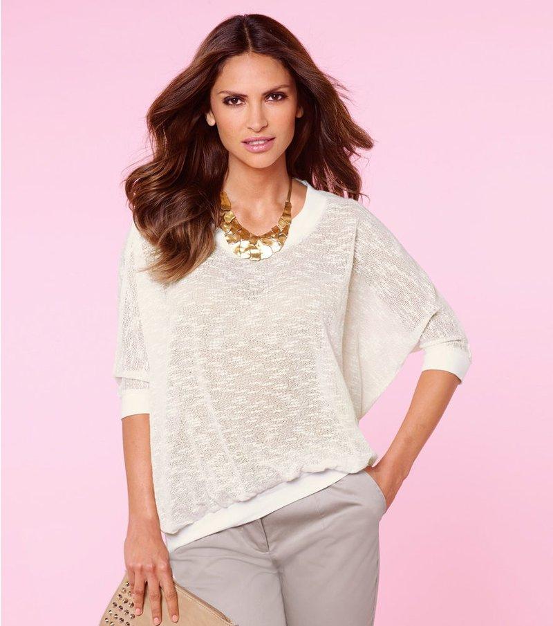 Jersey mujer manga larga tricot calado ligero - Beige