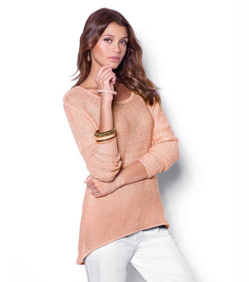Jersey mujer tricot largo asimétrico - Rosa