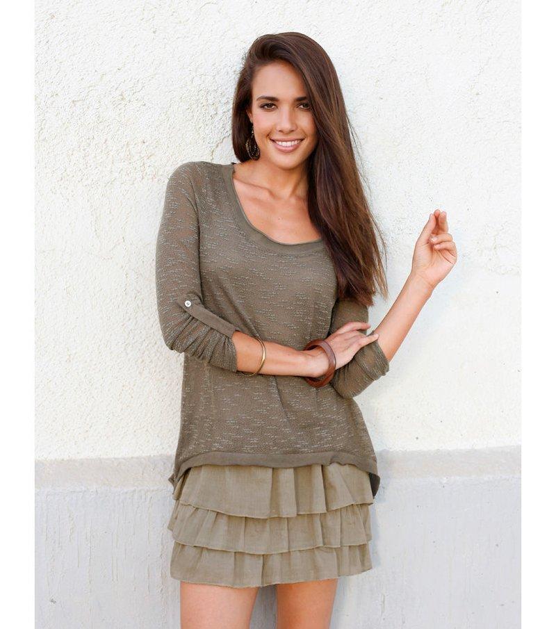 Jersey mujer manga larga tricot asimétrico