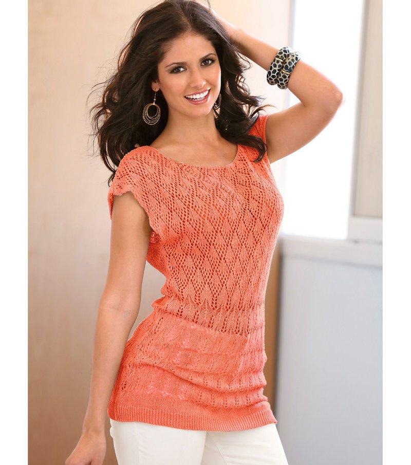 Jersey mujer manga corta punto tricot calado