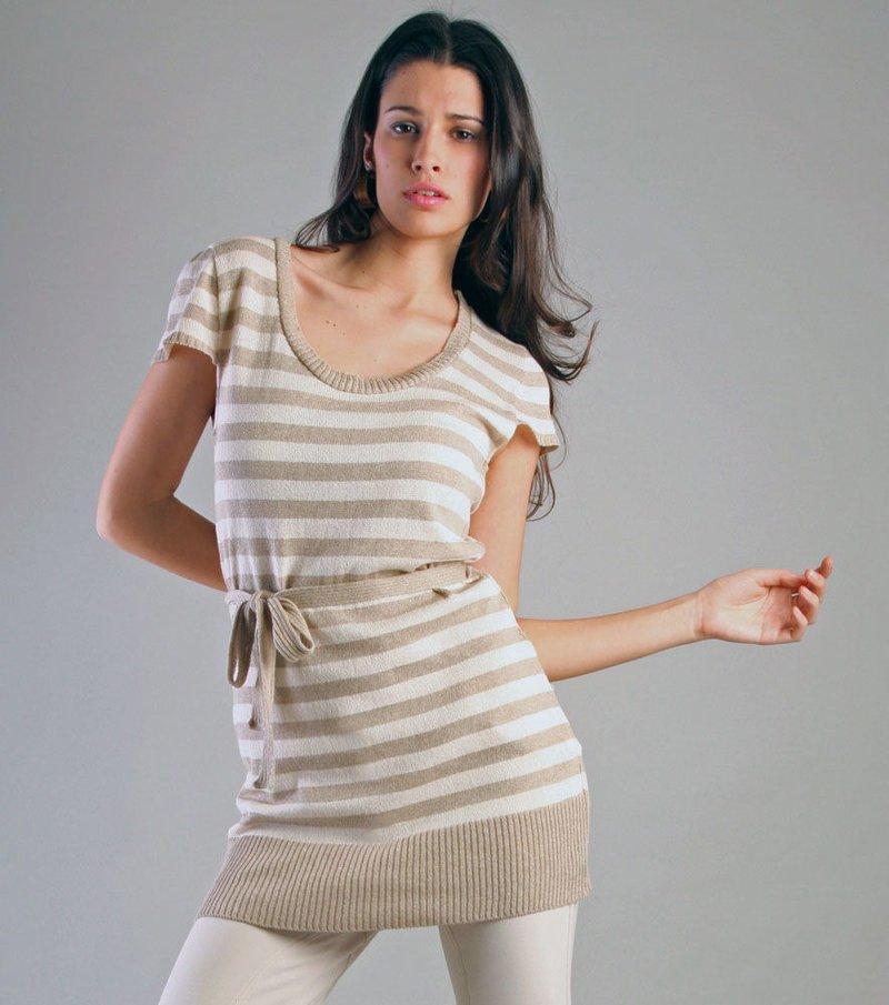 Jersey mujer manga corta rayas con cinturón