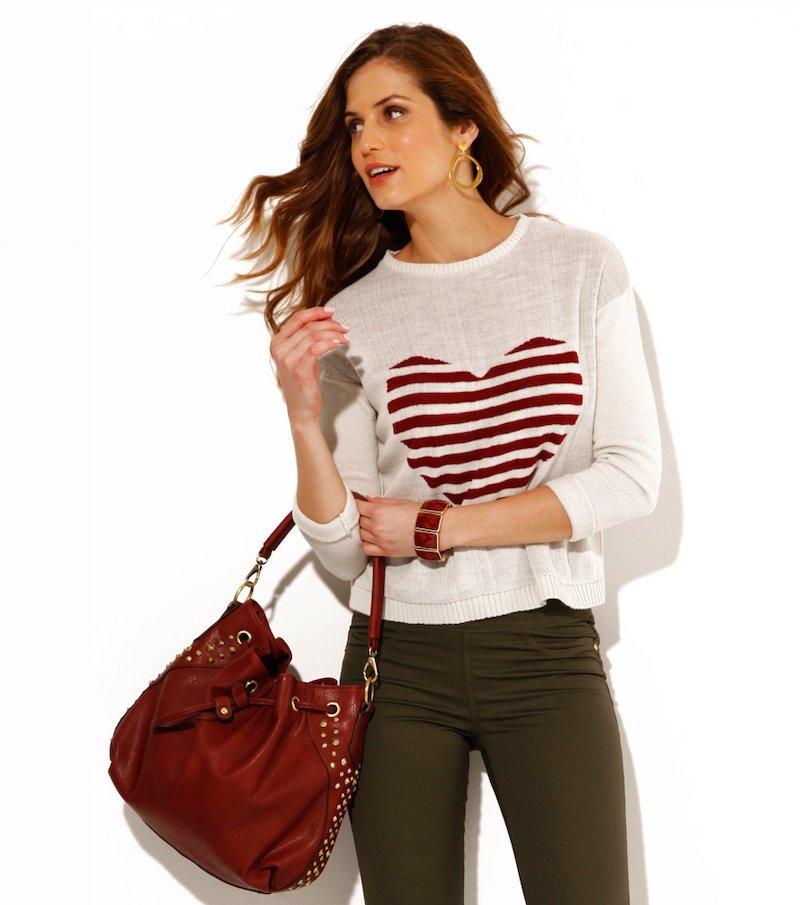 Jersey mujer manga larga corazón rayas tricot - Gris