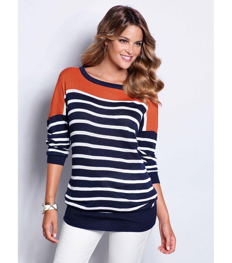 Jersey mujer manga larga rayas tricot brillante