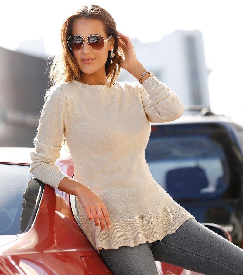 Jersey mujer manga larga con volante