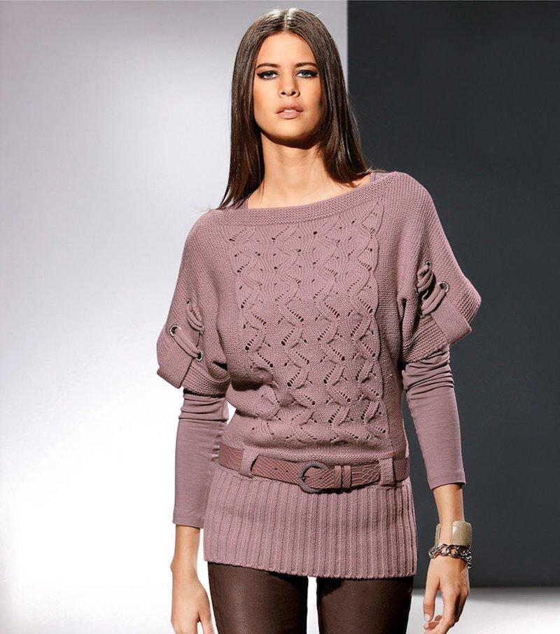 Jersey mujer manga corta tricot con cinturón - Rosa