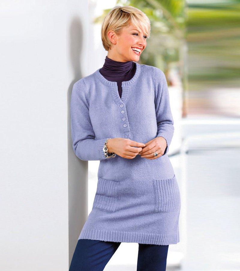 Jersey largo mujer manga larga tricot - Lila