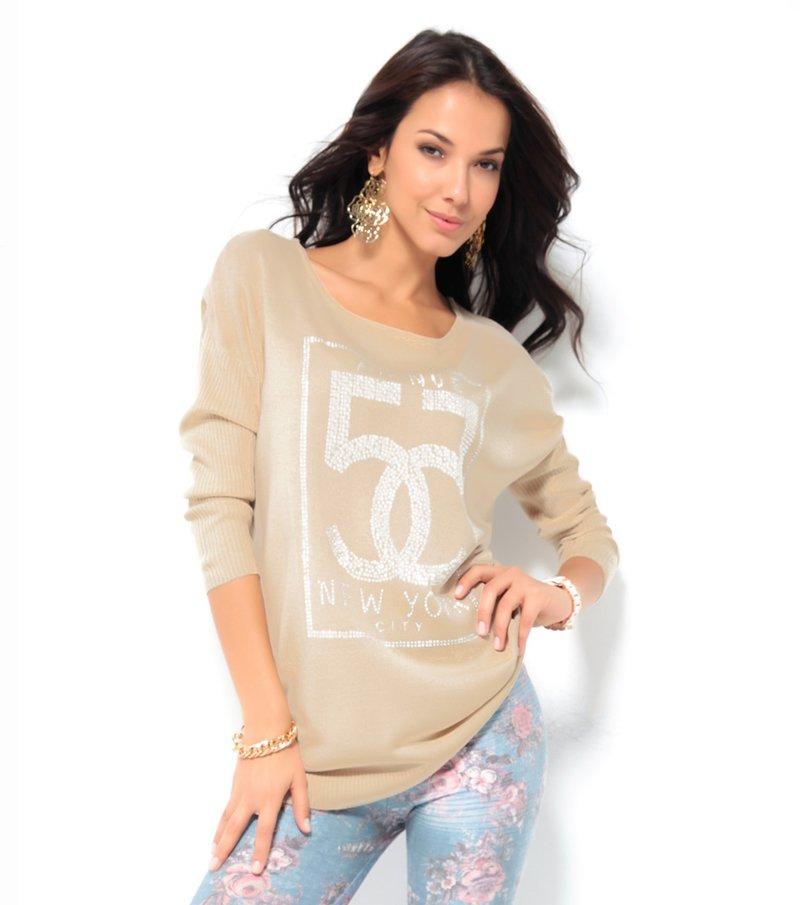 Jersey mujer manga larga tricot con strass - Beige