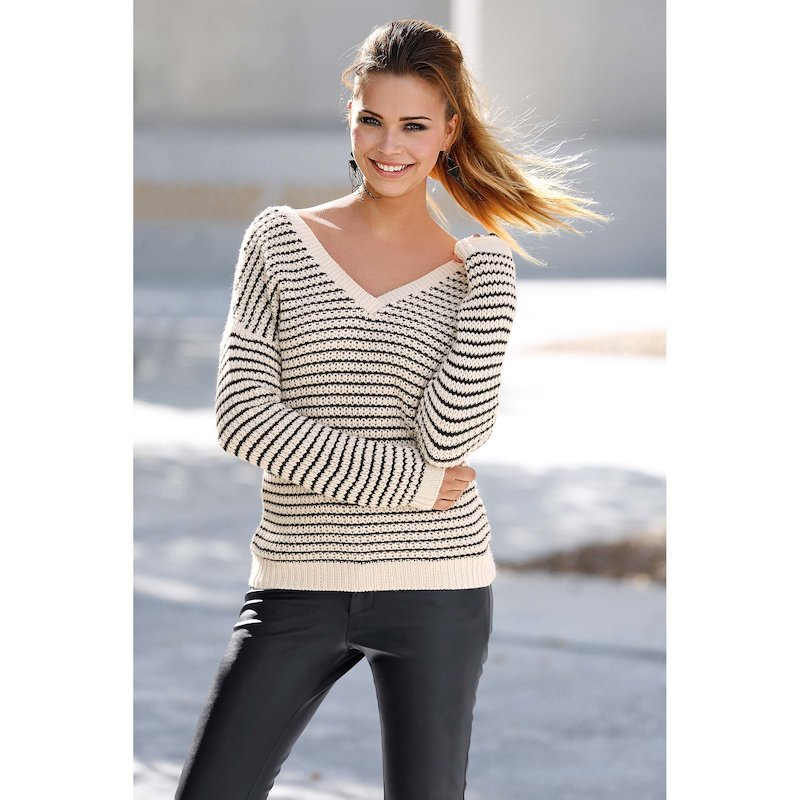 Jersey mujer manga larga rayas bicolor tricot - Crudo