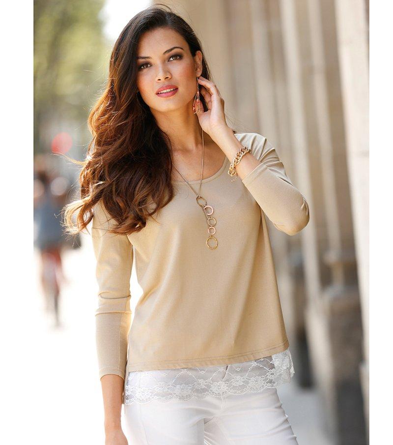 Jersey mujer manga larga tricot con blonda
