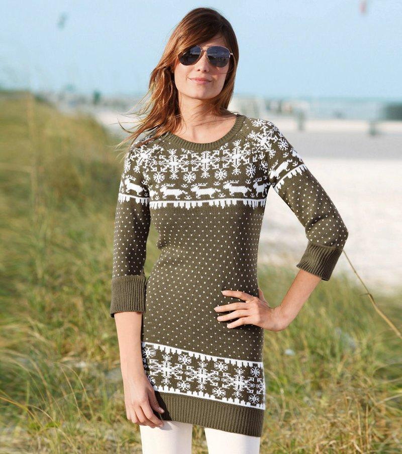 Maxi jersey mujer manga larga punto tricot - Verde