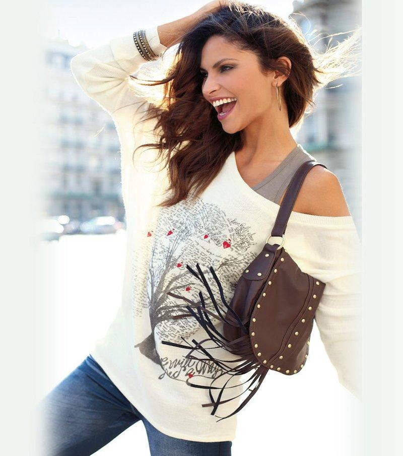Jersey mujer manga larga con estampado punto trico