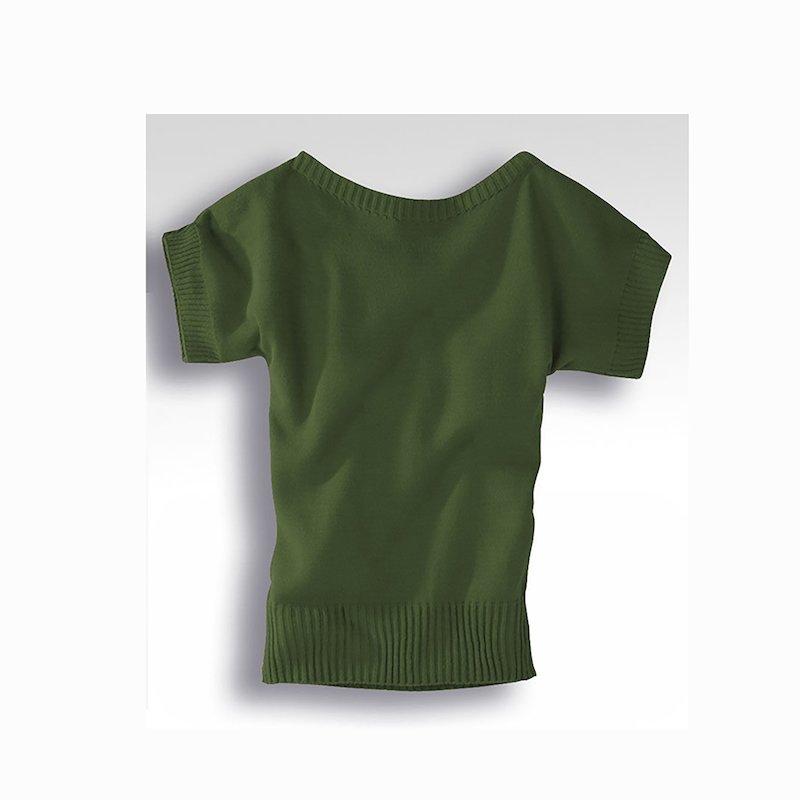 Maxi jersey mujer manga corta punto tricot - Verde