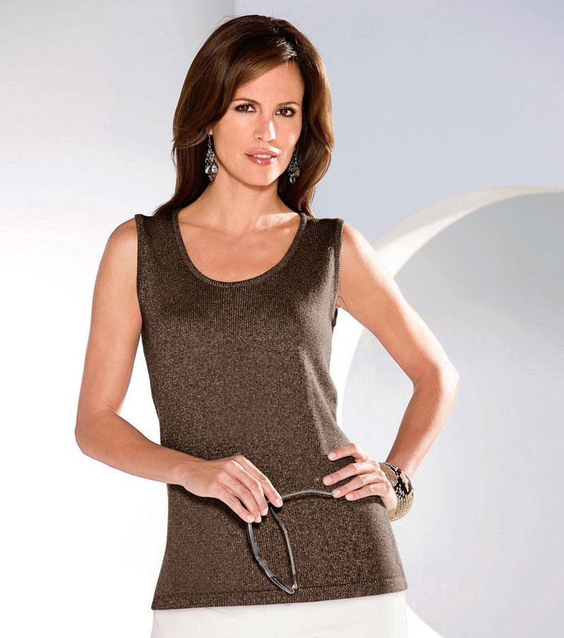 Jersey top mujer sin mangas punto tricot