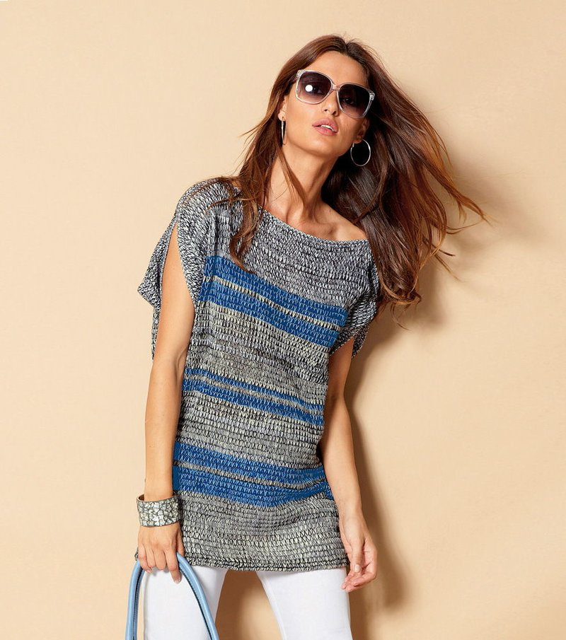 Jersey largo mujer manga corta tricot