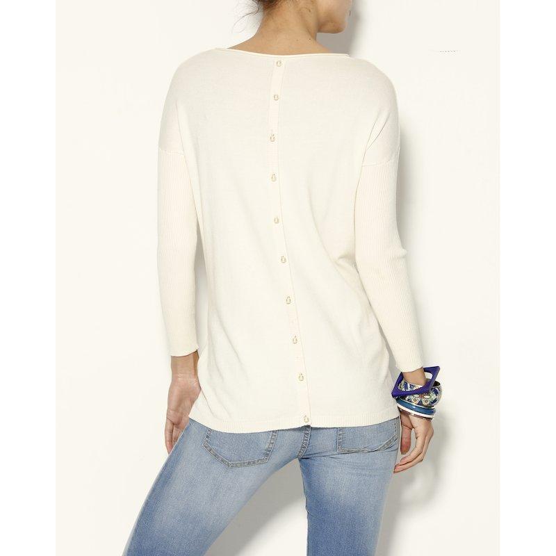 Jersey mujer manga larga con botonadura perla