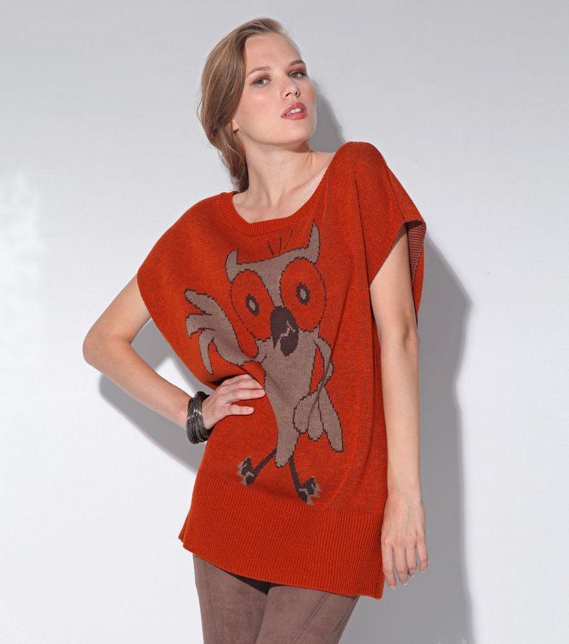 Jersey largo mujer punto tricot manga corta