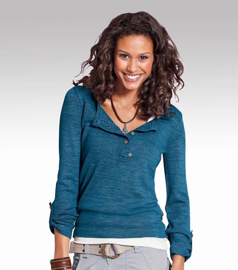 Jersey mujer manga larga regulable punto tricot con botones