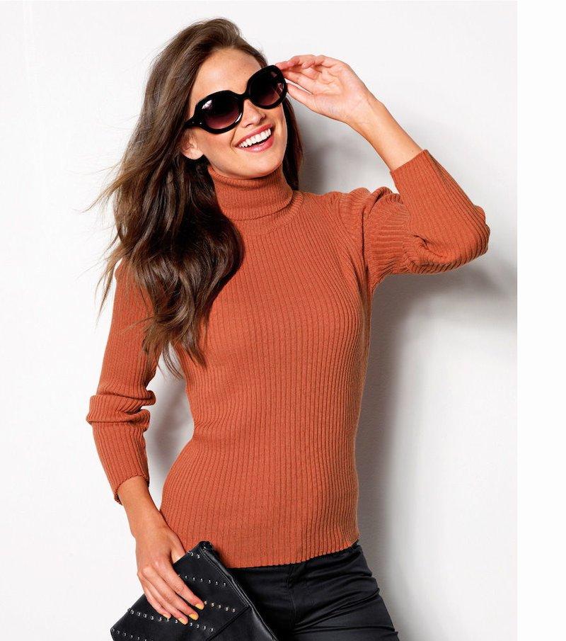 Jersey mujer cuello cisne tricot