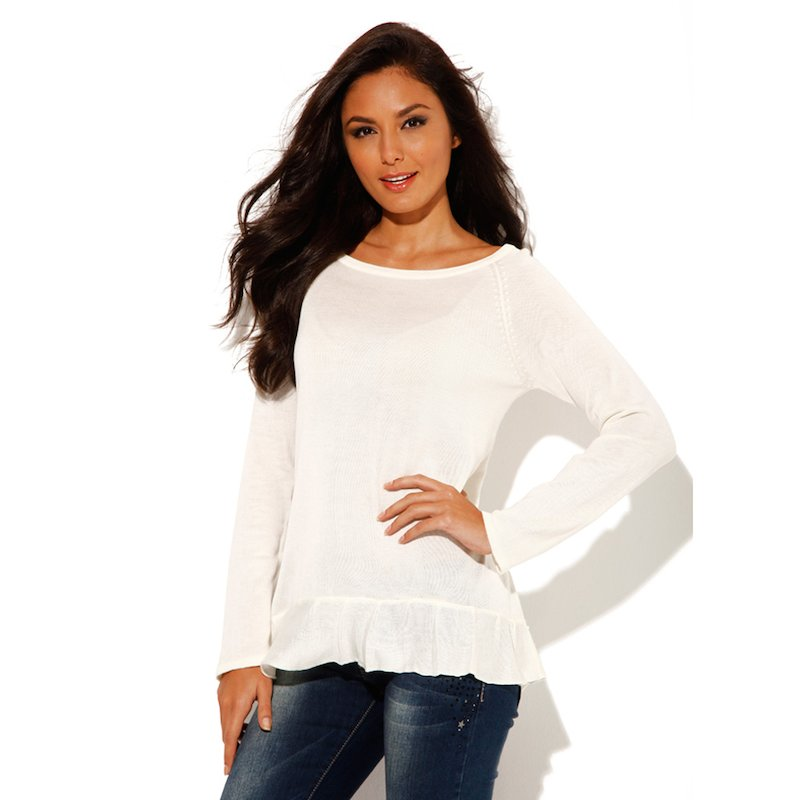 Jersey mujer manga larga volante tricot