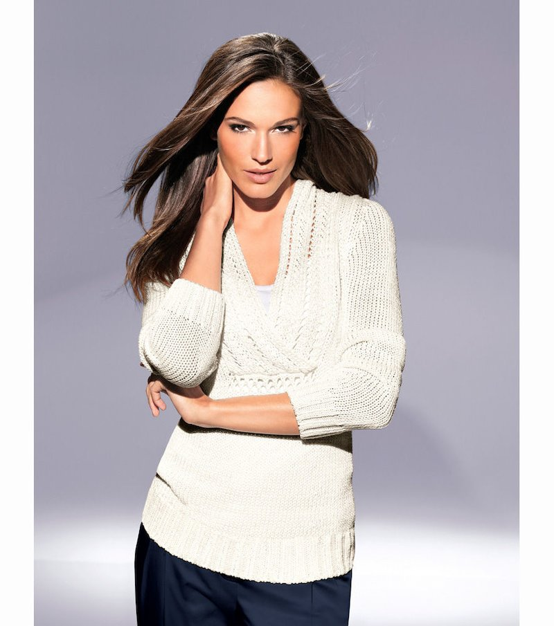 Jersey mujer tricot calado gran escote - Beige