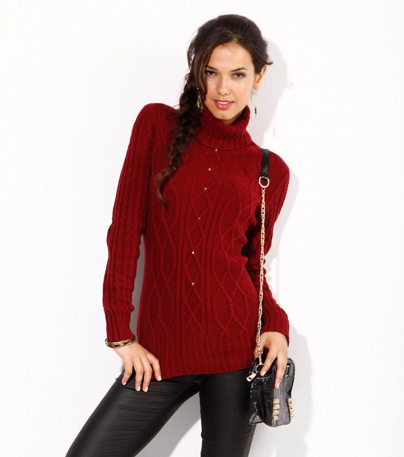 Jersey mujer manga larga tricot con tachuelas rojo