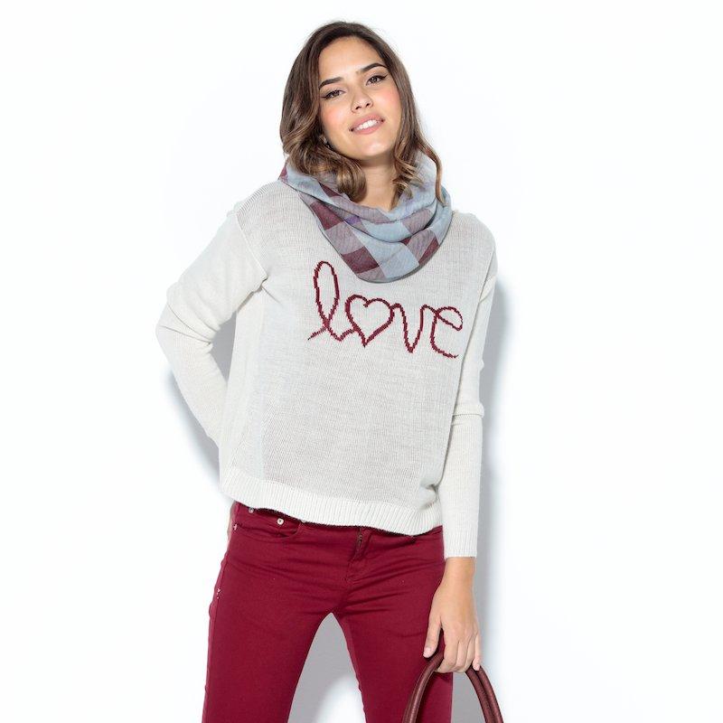 Jersey mujer manga larga estampado Love - Gris