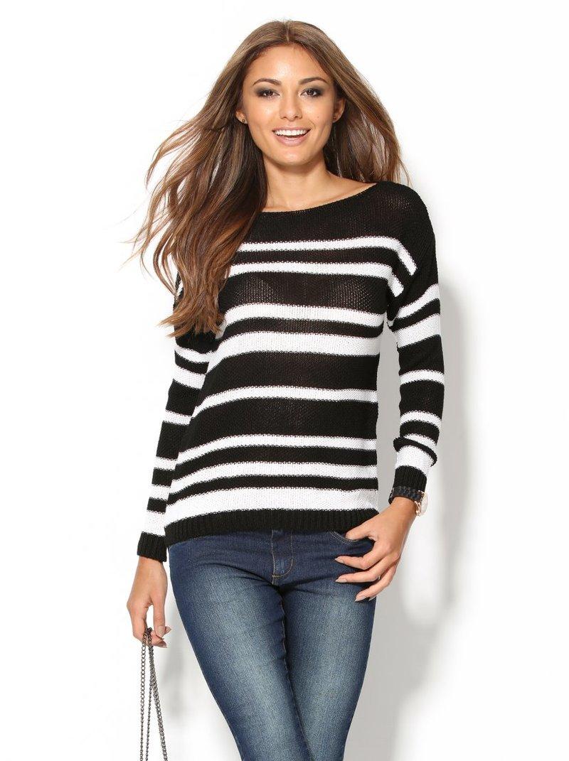 Jersey negro con rayas blancas mujer