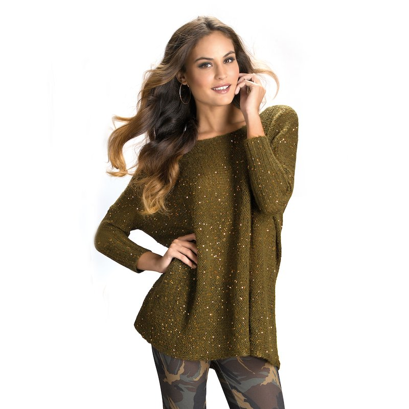 Jersey mujer manga 3/4 tricot con lentejuelas