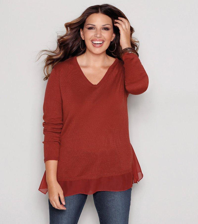 Jersey mujer manga larga tricot con crepe
