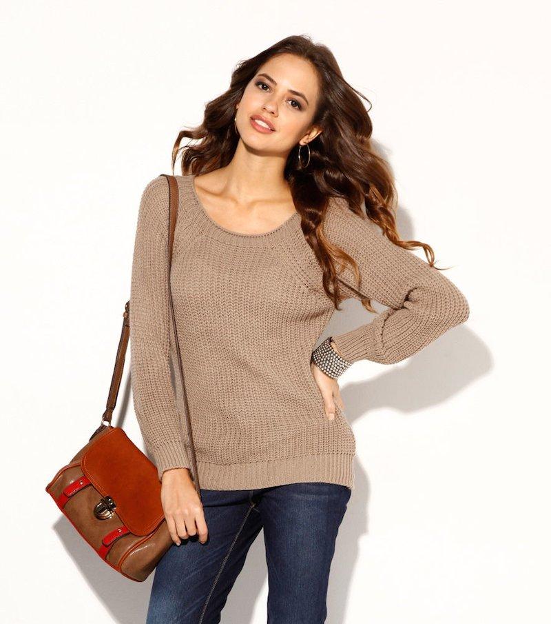 Jersey mujer manga larga tricot taupe