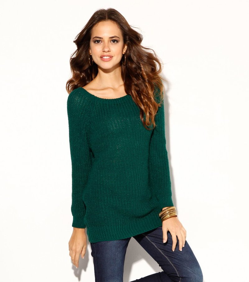 Jersey mujer manga larga tricot verde