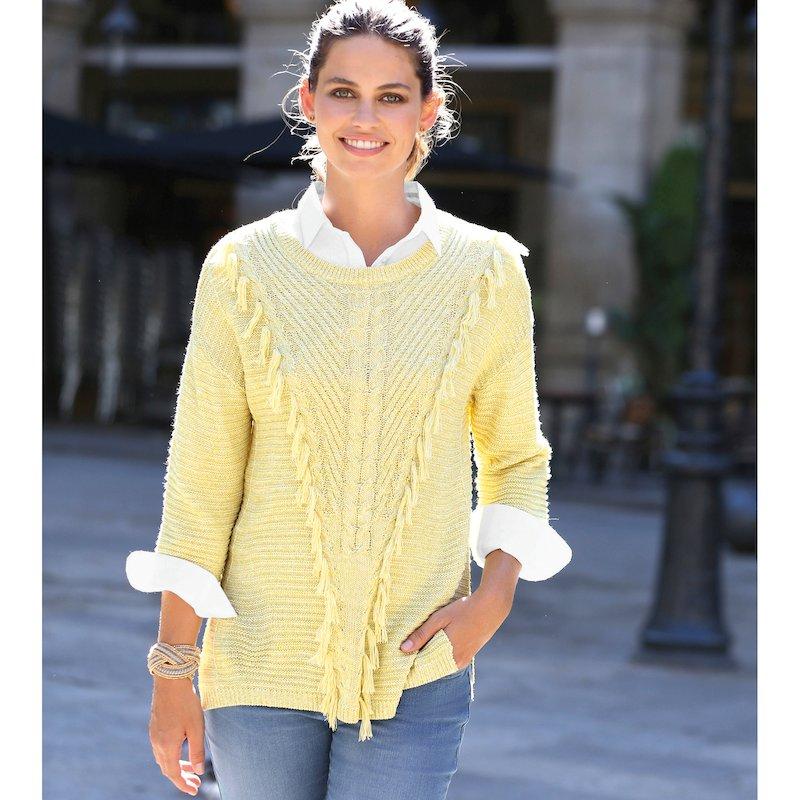 Jersey mujer en tricot de fantasía con flecos