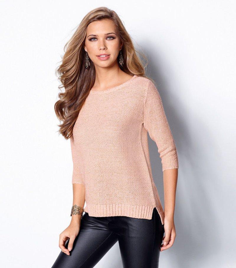 Jersey mujer manga 3/4 tricot hilos metalizado