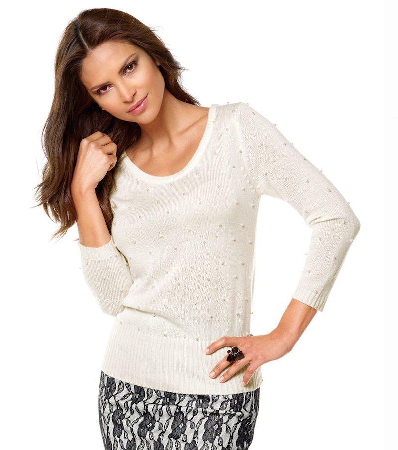 Jersey tricot mujer manga 3/4 con perlitas - Blanco