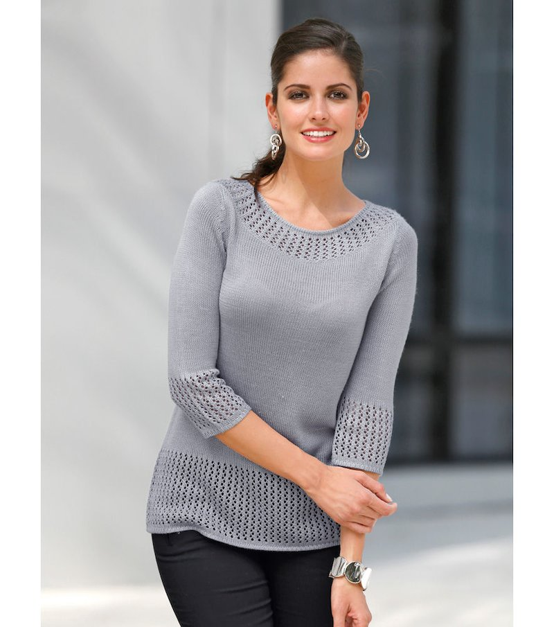 Jersey mujer manga 3/4 tricot fantasía - Gris