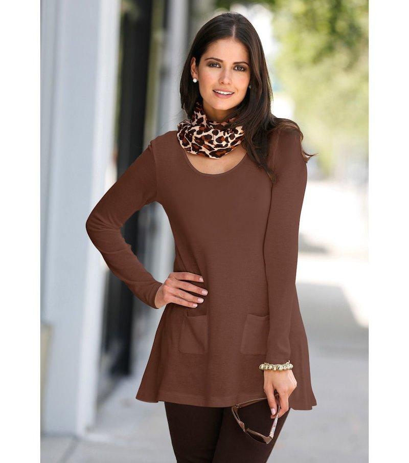 Jersey mujer asimétrico con bolsillos