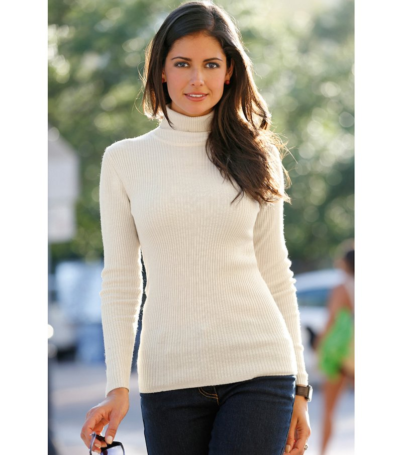 Jersey mujer manga larga cuello cisne tricot