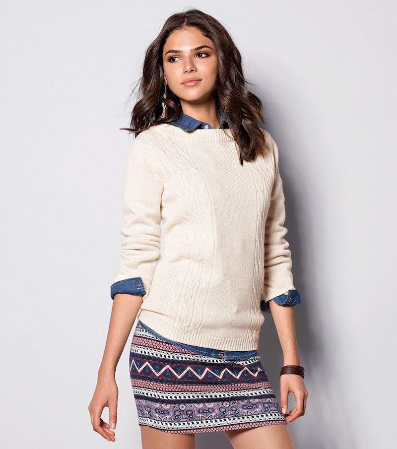 Jersey mujer manga larga tricot trenzas - Beige