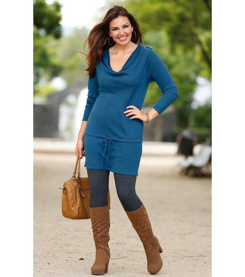 Jersey largo mujer manga larga tricot - Azul