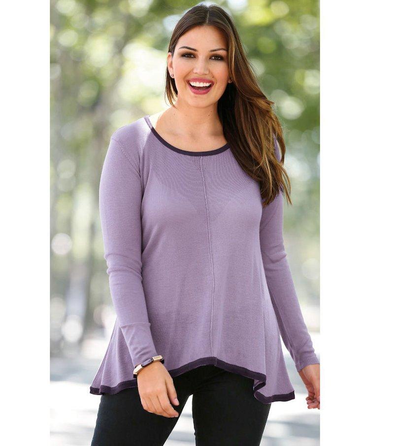 Jersey mujer manga larga bicolor tricot