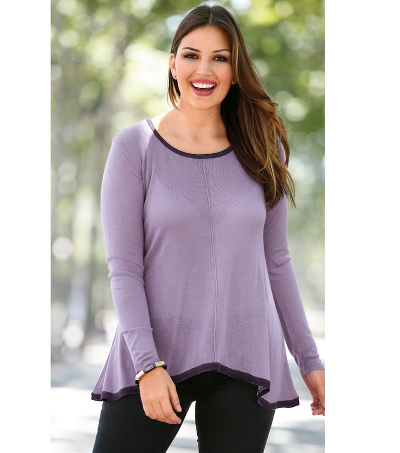 Jersey mujer manga larga bicolor tricot - Lila