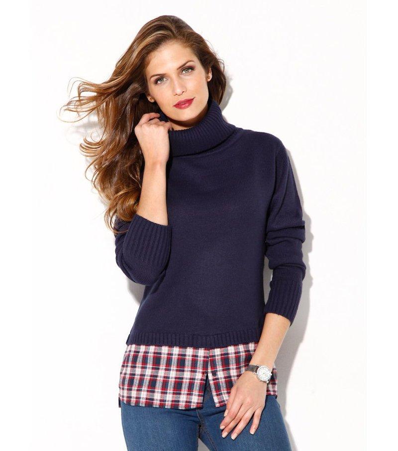 Jersey mujer efecto doble con camisa