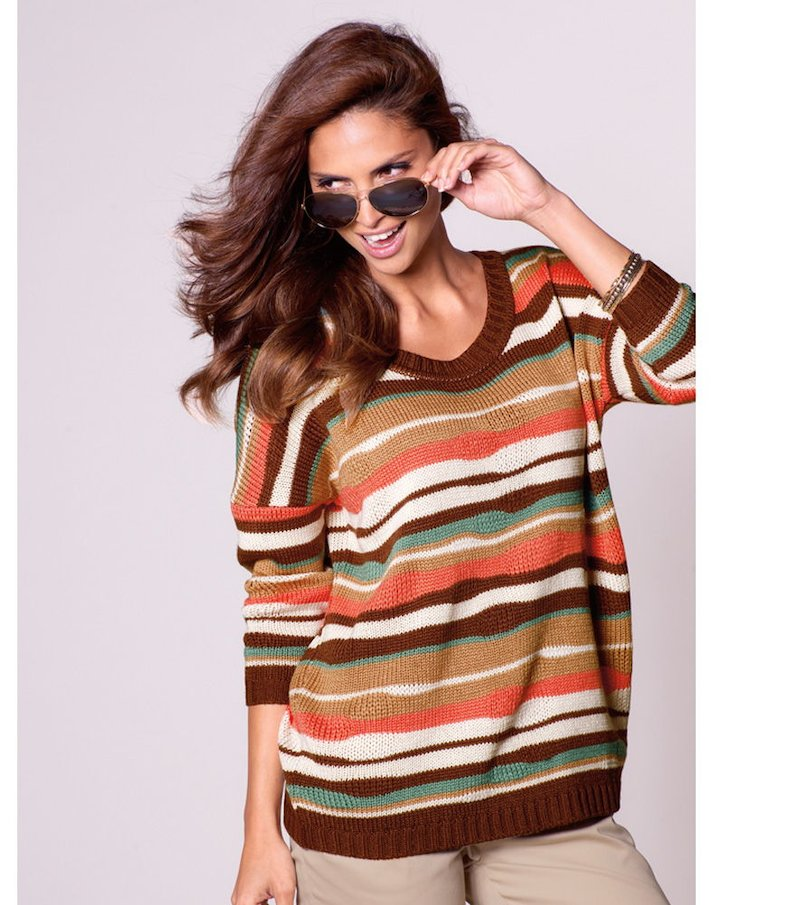 Jersey mujer tricot rayas multicolores - Beige