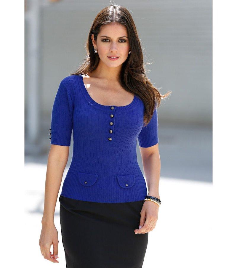Jersey mujer manga corta tricot con botones